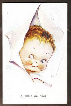 "1925 Mabel Lucie Attwell Valentine's 798 ""Cheerio OL' Fing "" Boy Pokes Head Out | eBay   Cheerio-ol'fing!                                                                               lb xxx."