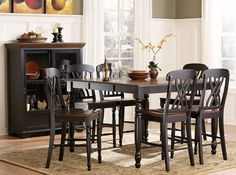 Ohana Casual Antique Black Warm Cherry Wood Counter Height Table