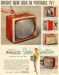 The Golden Age of Television: 35 Cool Pics of TV Advertisements From the Vintage Tv Ads, Vintage Movies, Vintage Magazines, Television Set, Vintage Television, Old Advertisements, Retro Advertising, Retro Ads, Portable Tv