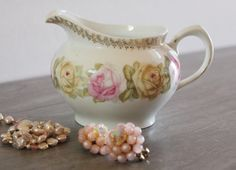 Pink and yellow rose creamer Zeh Scherzer & Co by MaddiesCourt