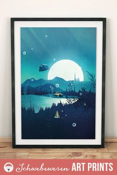 Camping Art Print Moonlight Painting Offroad Camping Adventure Awaits Wanderlust Wall Art 4x4 Painting Retro Travel Poster Camper Print