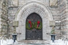 A church door decorated for Christmas in Morristown, New Jersey