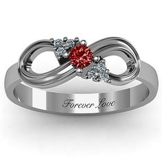 Solitaire Infinity Ring with Accents | Jewlr