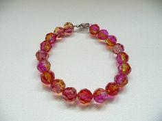 Pink and Yellow Two Tone Acrylic Round Bead by mizlisasdesigns