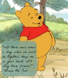 "Winnie the Pooh is the best! ""If there ever comes a day when we can't be together, keep me in your heart. I'll stay there forever"""