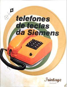Publicidade de telefone de teclas, marca Siemens