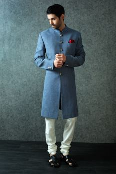 Jute nawabi Sherwani highlighted with silver buttons from #Benzer #Benzerworld #Indowesternwear #menswear