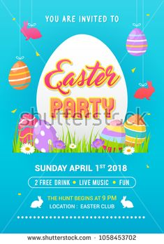 Easter Party poster vector illustration. Hanging decorations, Colorful Easter eggs on spring field.