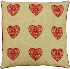"""FUNKY MODERN HEART RED LINEN FAUX SILK EMBROIDERED CUSHION COVER 18"""""""