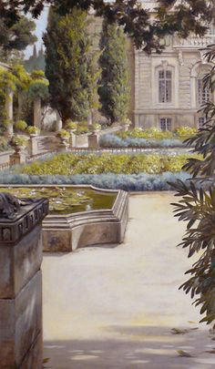 while this garden mural wasn't about the plants themselves, the artist did his or her homework and presented realistic, balanced foliage hues, depicting plants with appropriate, compact growth habits suitable for a structured courtyard garden