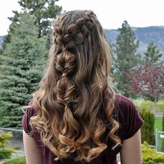Half-Up Dutch Braids and Bubble Fishtails with Curls inspired by ☺️ Unique Hairstyles, Braided Hairstyles, Hairdos, Long Braids, About Hair, Braid Styles, Hair Hacks, Hair Tips, Hair Inspo