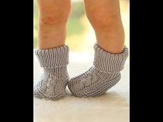 Детские пинетки спицами+вязаные пинетки мастер класс.Knitting.Детские пинетки для начинающих
