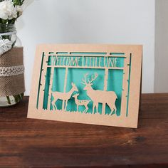 Baby Card Deer Family Paper Cut Welcome by LauraJeffriesShop