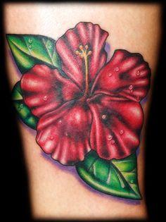Red Hibiscus Flower Tattoo by Josh Hibbard
