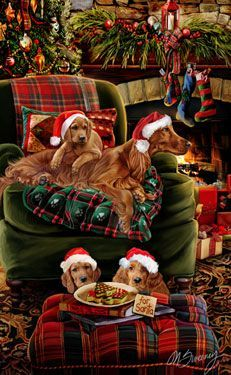 Irish Setter Christmas Holiday Cards are 8 x 5 and come in packages of 12 cards. One design per package. All designs include envelopes, your personal message, and choice of greeting. Christmas Scenes, Christmas Animals, Christmas Pictures, Irish Christmas, Christmas Dog, Gif Fete, Vintage Christmas Cards, Holiday Cards, Christmas Illustration