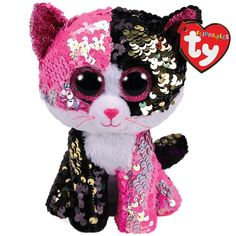 Malibu The Black/Pink Cat Flippable Regular is part of the Flippable Beanie Boos collection from Ty. Flippables are plush animals covered with sequins and when you pet the sequins, they turn over to reveal a different colour. Ty Beanie Boos, Beanie Babies, Ty Boos, Ty Stuffed Animals, Plush Animals, Ty Animals, Stuffed Toys, Doll Toys, Pet Toys