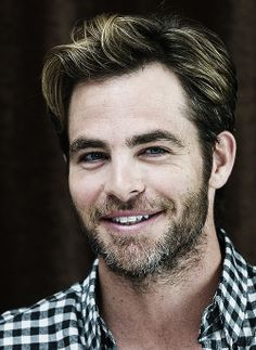 Chris Pine...love the blonde and the beard