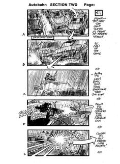 Martin Asbury - storyboards - Autobahn This image shows his skill as a comic book illustrator, and demonstrates the similarities between comic book illustration and storyboarding. Both deal with visually interpreting a narrative in (more or less) set dimensions.
