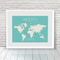 Bucket list map world travel map personalised map custom world places weve been personalised world map by no ordinary emporium gumiabroncs Choice Image
