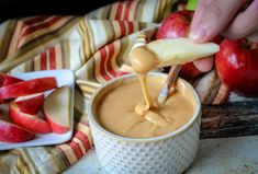 Caramel Ganache dripping off an apple slice Apple Dip, Apple Slices, Caramel Ganache, How To Melt Caramel, Caramel Candy, Heavy Whipping Cream, Whipped Cream, Appetizers, Favorite Recipes