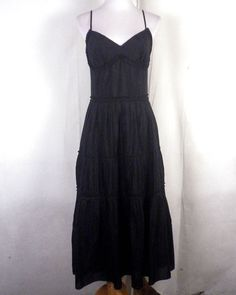 ceda17de220 NWOT Ann Taylor Loft Solid Black Pleated Maxi Dress cotton silk lined zip  back 4