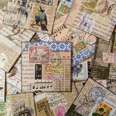 Paper Collage Art, Collage Artists, Paper Art, Collages, Vintage Ephemera, Vintage Paper, Journal Cards, Junk Journal, Art Trading Cards