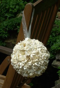 Paper flower kissing ball by floracultureconcepts on Etsy, $40.00