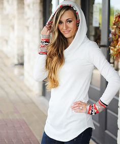 So Perla Ivory & Orange Tribal Accent Hoodie | zulily