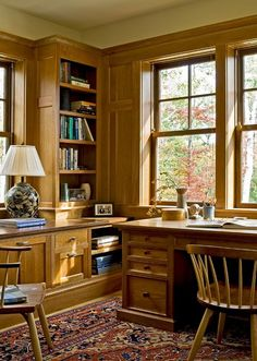 rustic small office design | Rustic Wood Cabinet and Table in Small Home Office Furniture Design ...