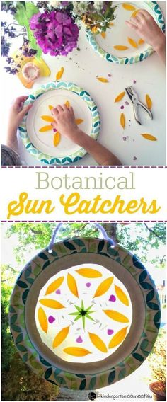 Sun Catchers These botanical sun catchers make beautiful classroom or home displays, and are perfect for a fun, garden-themed activity with kids this spring!These botanical sun catchers make beautiful classroom or home displays, and are perfect for a fun, Diy Craft Projects, Projects For Kids, Garden Projects, Preschool Crafts, Kids Crafts, Arts And Crafts, Garden Crafts For Kids, Sun Crafts, Preschool Kindergarten