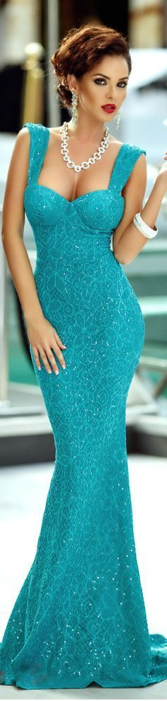 Turquoise Sequined Lace Sleeveless Prom Dress