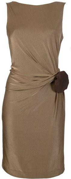 Gucci  béžové pouzdrové šaty s řasením