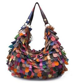 Genuine Leather Fringe Hobo Bag Ruffle Layered Multi Color Handbag - Side # 2.  #leatherhandbags #leatherbags #ruffledhandbags #fringehandbags #rufflebags #rufflehandbags #BagMadness #Designerhandbags #Designerbags
