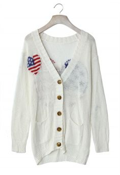#Chicwish  USA Flag Heart White Cardigan