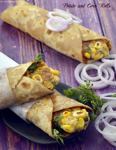 Potato and Corn Rolls recipe, aloo corn rolls, Makai frankie recipe The kathi roll is a boon to Indians! We can think of it as the desi answer to sandwiches, wraps , rolls and other convenient o Sweet Potato Recipes Healthy, Corn Recipes, Vegetarian Recipes, Cooking Recipes, Healthy Recipes, Recipies, Cooking Ideas, Bread Recipes, Snack Recipes