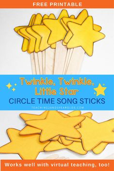 Download these free Twinkle Twinkle, Little Star printable song sticks for the toddlers and preschoolers to hold during music! #circletime #music #printable #song #star #toddlers #preschool #2yearolds #3yearolds #teaching2and3yearolds Circle Time Songs, Circle Time Activities, Activities For 2 Year Olds, Music Activities, Movement Activities, Toddler Preschool, Preschool Activities, Little Star Song, Fun Songs To Sing