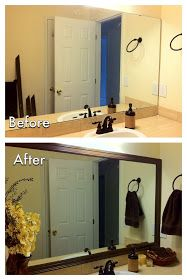 Frame out a plain mirror with wood moulding/trim for a slick, finished look. Cheap and elegant! Just my speed!