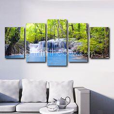 5 Panels Spring Green Trees and Blue Waterfalls Landscape Canvas Print Art for Livingroom Decoration Unframed 2016 - $27.19