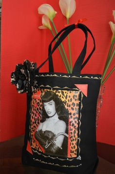 Bettie Page - Black Canvas -Tote Bag - Mixed Media Alternative on Etsy, Sold