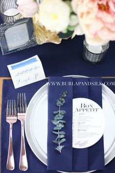 Navy Blue Wedding Inspiration featuring navy blue napkins, navy blue placemats and navy blue table runners. Wedding Table Linens, Wedding Napkins, Wedding Table Settings, Place Settings, Navy Blue Table Runner, Table Runners, Wholesale Table Linens, Blue Dining Tables, Blue Placemats