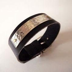 Bracelet en cuir noir et argent 935 martelé  par Sarah Lemonnier