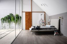 Stylish Modern Bedroom Decor Concept. Floors From Treverktrend Tile  Collection By Marazzi.