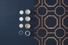 Sashiko Navy takes rich, textured navy substrate and embellished with copper metallic geometric detailing. Bedroom Wallpaper Accent Wall, Damask Wallpaper, Copper Metal, Copper Color, Blue And Copper Living Room, Coordinating Paint Colors, Navy Paint, Inspirational Wallpapers, Blue Wallpapers