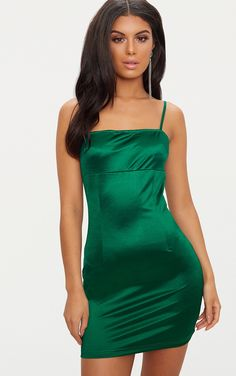 ba4909fa04ce Emerald Green Straight Neck Strappy Satin Bodycon Dress Satin Bodycon Dress