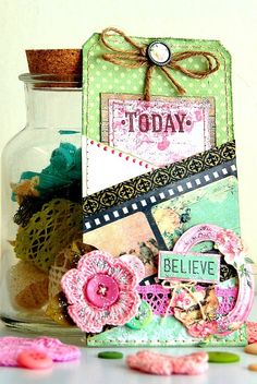 Scrapperlicious: Believe Tag by Irene Tan using BoBunny Madeleine collection.