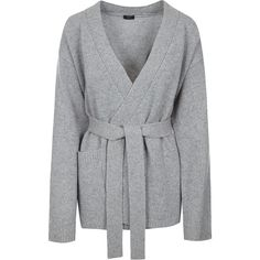 Joseph Luxe Cashmere Belted Cardigan ($710) ❤ liked on Polyvore featuring tops, cardigans, cashmere cardigan, grey waist belt, wrap cardigan, wrap top and belted top