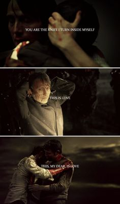 """""""Perhaps it isn't love when I say you are what I love the most — you are the knife I turn inside myself, this is love. This, my dear, is love. Hannibal Funny, Nbc Hannibal, Hannibal Lecter, Series Movies, Movies And Tv Shows, Hannibal Wallpaper, Beverly Katz, Will Graham Hannibal, Hannibal Tv Series"""