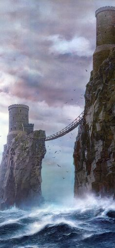 Coastal Tower bridge cliff sea ted nasmith - a song of ice and fire, the pyke