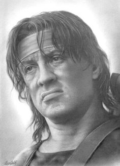 Pencil Drawing Wow Amazing Likeness Here of Sylvester Stallone in classic movie First Blood ⭐️