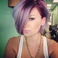 Short bob haircut and nice lavender hair color